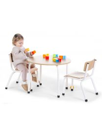 Small Round Children's Table - Metal Wood - Natural White