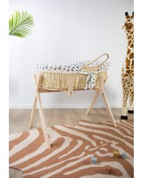 Moses Basket + Handles + Mattress - Soft Corn Husk + Raffia  - Natural + Jersey Cover Leopard