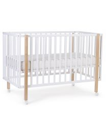 Cot Bed Ref 122 + Wheels - 60x120 Cm - MDF Wood - White
