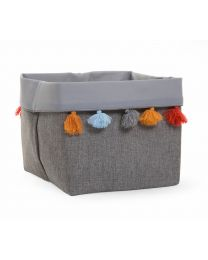 Storage Basket + Tassel - 32x32x29 Cm - Canvas - Dark Grey