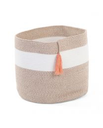 Storage Basket - 38x38x40 Cm - Cotton Polyester - White Beige Nude