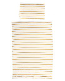 Donsovertrek + Kussensloop - 100x140 Cm - Jersey - Ochre Stripes