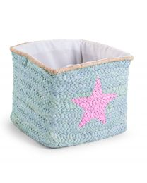 Storage Basket - 30x33x33 Cm - Straw - Mint - Star & Cloud