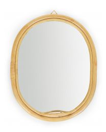 Oval Mirror With Hook - Rattan - 32x35 Cm
