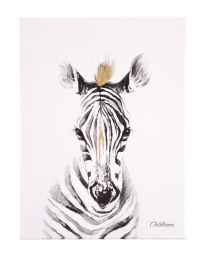 Oil Painting - Zebra + Gold - 30x40 Cm