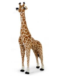 Peluche Debout Girafe - 65x35x180 Cm - Brun Jaune
