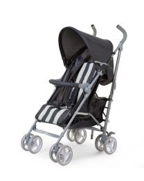 Buggy 5 Positions + Rain Cover + Sun Canopy - Alu + Tedelon - Grey White Striped