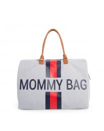 Mommy Bag Nursery Bag - Grey Stripes Red/Blue