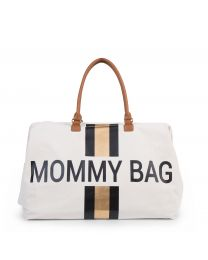 Mommy Bag Nursery Bag - Off White Stripes Black/Gold