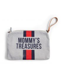 Mommy's Treasures Clutch - Gris Rayures Rouge/Bleu