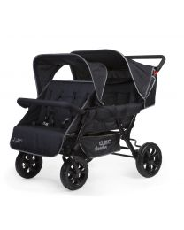 Two By Two Stroller + Rain Cover + Sun Canopy - Steel + Tedelon - Black