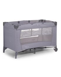 Travel Cot Bed - 2 Bottoms - 60x120 Cm - Canvas - Grey