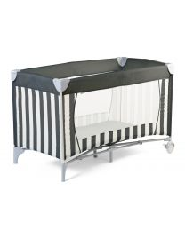 Travel Cot Bed - 60x120 Cm - Canvas - Grey White Stripes