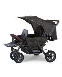 New Triplet Kinderwagen + Regenschutz + Sonnenschutz - Stahl + Tedelon - Anthrazit