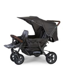 New Triplet Stroller + Rain Cover + Sun Canopy - Steel + Tedelon - Anthracite