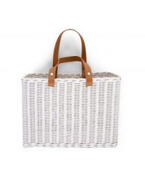 Hanging Storage Basket - 2 Handles - White