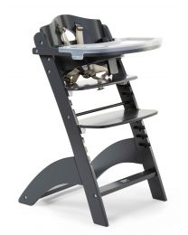 Lambda 3 Baby High Chair + Feeding Tray - Wood - Anthracite