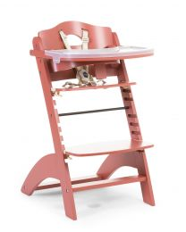 Lambda 3 Baby High Chair + Feeding Tray - Wood - Red Brick