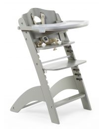 Lambda 3 Baby High Chair + Feeding Tray - Wood - Stone Grey