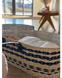 Moses Basket + Lining + Leather Handles + Mattress - Natural Anthracite